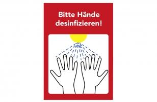 Set 3x Aufkleber Bitte Hände desinfizieren A4